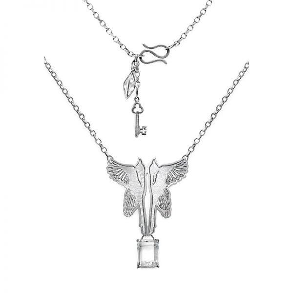 Silver Magpie Quartz Drop Necklace - model 2 - rec with clasp detail